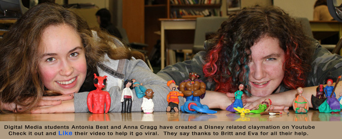 two students with claymation figures
