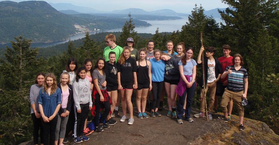 PE 9/10 Girls class and the Marine 10 class hike up Mt. Work