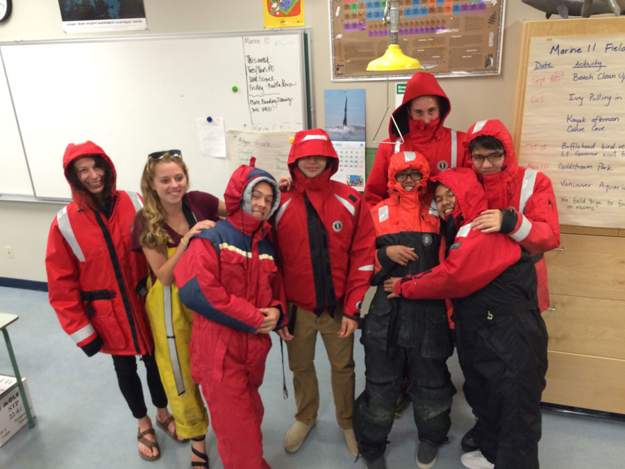 Marine students in survival suits