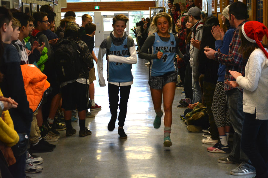 Parkland Secondary School lined the halls just before lunch to cheer on and congratulate all the fall athletic teams