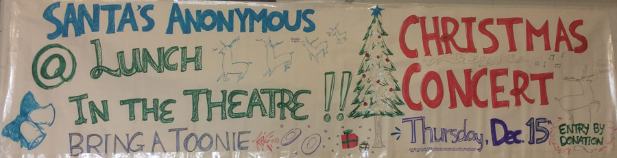 Santa's Anonymous fund raising concert, Thursday at lunch in the Theatre