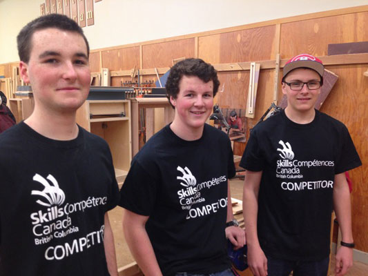 Aaron Burton, Thomas Bennett, and Patrick Wilson at the Skills Canada Joinery competition