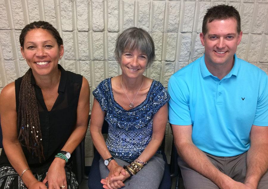 Shirley Elm, Lizanne Chicanot, and Aaron Buckham, the 2017-2018 school year admin team