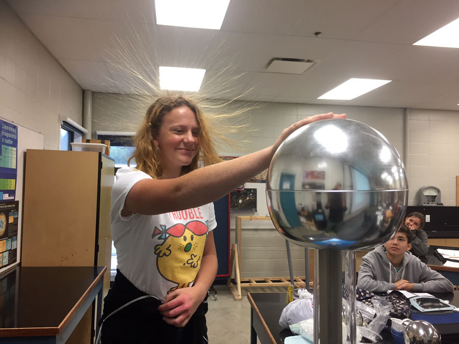 Electronics class playing with static electricity