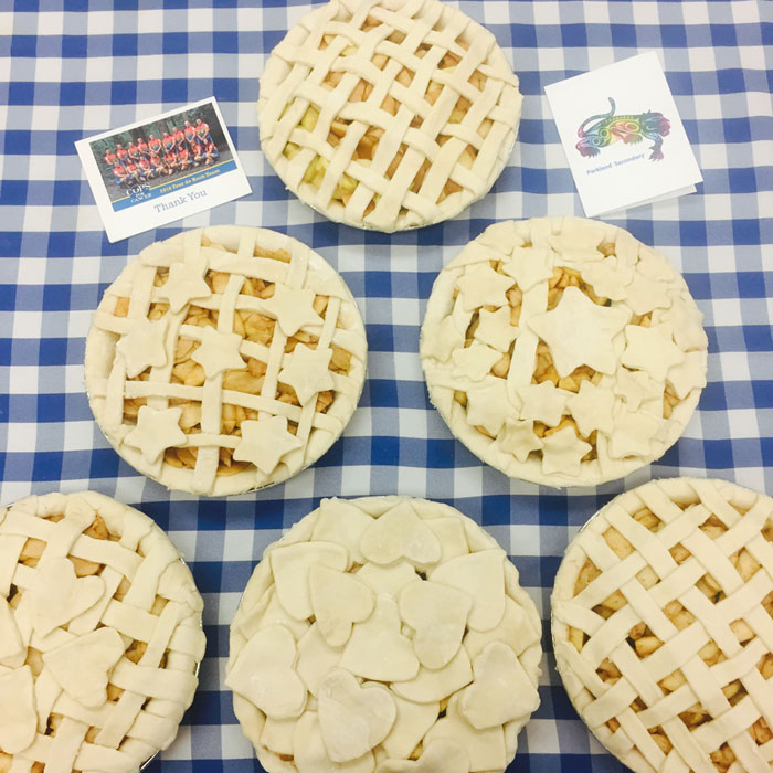 Foods and Nutrition 9-13 classes have been busy all week baking apple pies for the Pie Drive for Cancer Research