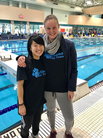 Saki and Lilly at the end of the meet