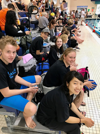 Torge, Erik, Sophia, Lilly, and Saki relaxing in between events