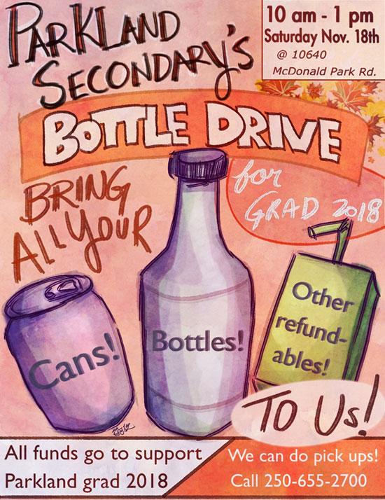 Bottle Drive Saturday November 18th 10am-1pm