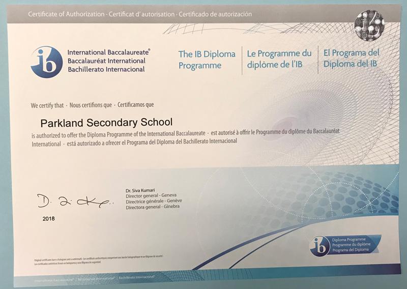 Parkland IB Certificate